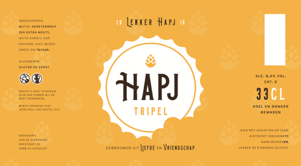 HAPJ Tripel bierlabel van bierflesje